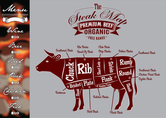 menu  for grilling with steaks and cow