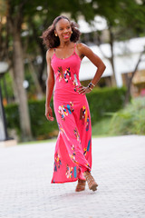 Stock image Jamaican woman in a summer dress