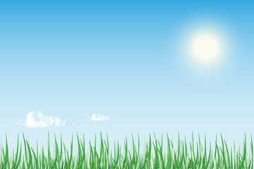 Sun rise or sunset over  green field of grass with bright blue s