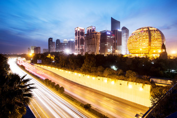 The city traffic at night