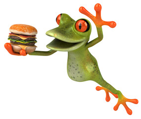 Frog and hamburger