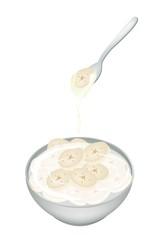 Sliced Banana in Coconut Milk on White Background
