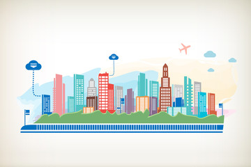 Panorama town. City scape and cloud
