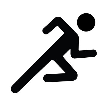 running man icon black white