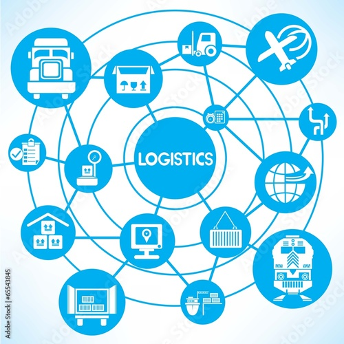 Shipping Blue Connecting Diagram Stock Image And Royalty Free