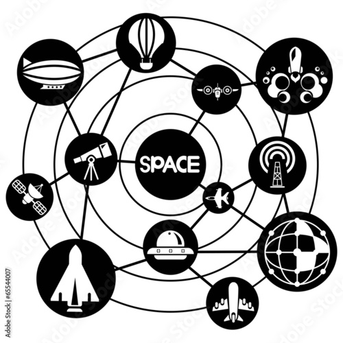 Space And Aerial Transportation Connecting Network Diagram Stock