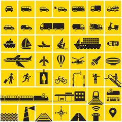 Traffic icons set - road, rail, water, air symbols