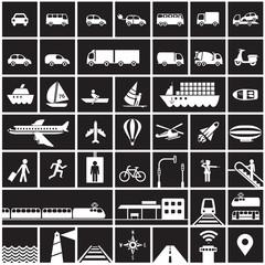 Traffic icons set - road, rail, water, air symbols / black