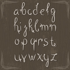alphabet on wooden background, vector