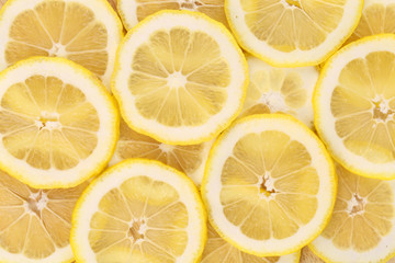 Lemon slices close up. Macro.