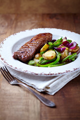 Grilled Beef Steak with Pan-Cooked Vegetables