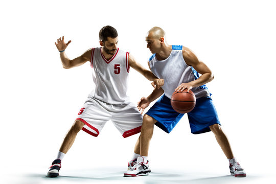 Basketball players isolated on white
