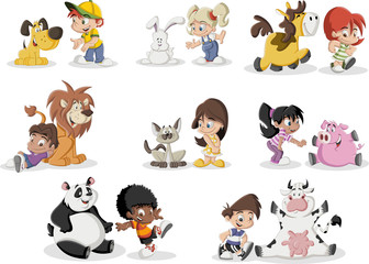 Group of happy cartoon children playing with animals pet