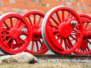 Speichenräder einer Dampflokomotive