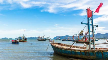 Fishing boat park at beach