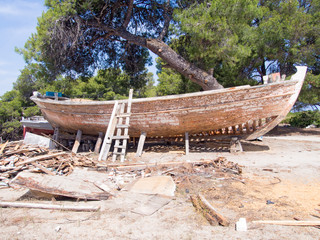 Image of a fishing boat being restored