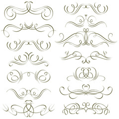 calligraphy decorative borders, ornamental rules, dividers, vect