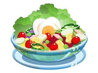 salad in glass bowl illustration