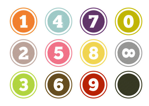 Colorful number buttons set