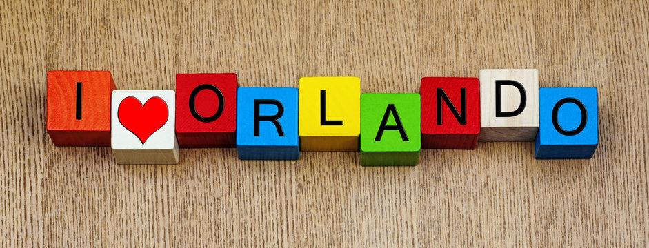 I Love Orlando, vacation destination, Florida, America.