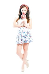 Pin up girl with big lollipop