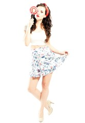 Pin up girl style, young woman posing