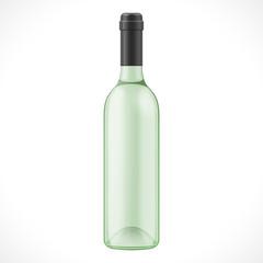 Green Glass Wine Cider Bottle On White Background