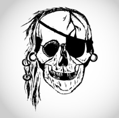 Toothless pirate skull illustration