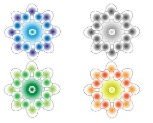 varicoloured shapes objects