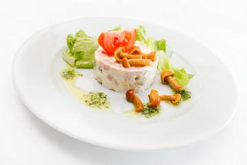 Russian salad with mushrooms