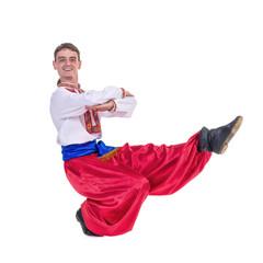 Russian cossack dance. Young dancer dancing