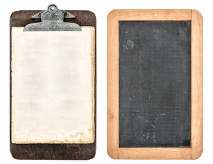 antique clipboard and chalkboard isolated on white