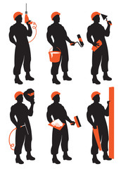 set of vector construction workers silhouettes
