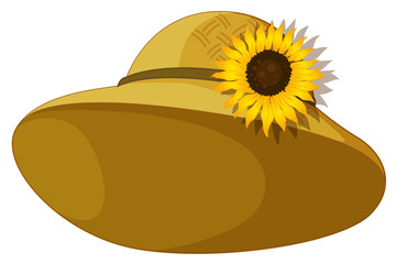 A fashionable hat with a sunflower