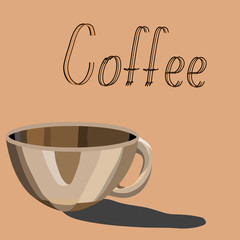 Poster with a coffee cup. Vector illustration.