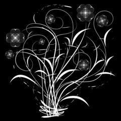 Vector illustration of white floral design over black background