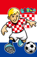 Croatia soccer player with flag background
