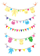 vector newborn baby clothes and bunting