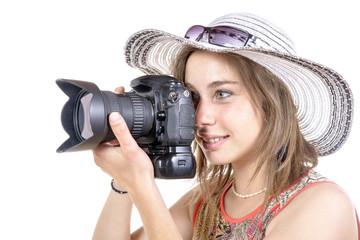 girl take a photo with digital camera
