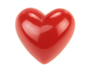 Red heart with reflections isolated on white background.