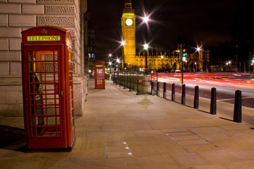 Fotobehang Londen rode bus London telephone box and Big Ben in background