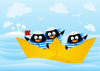 Cute penguin sailors in paper boat