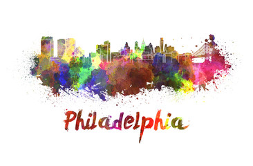 Fotomurales - Philadelphia skyline in watercolor