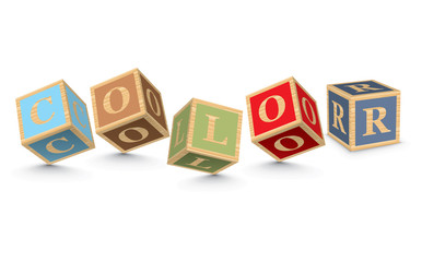 Word COLOR written with alphabet blocks