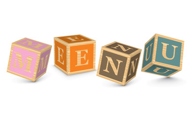 Word MENU written with alphabet blocks