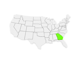 Three-dimensional map of Georgia. USA.