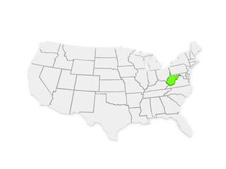 Three-dimensional map of West Virginia. USA.