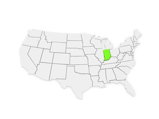 Three-dimensional map of Indiana. USA.