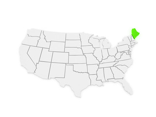 Three-dimensional map of Maine. USA.