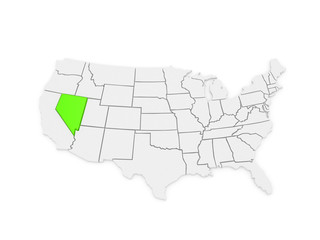 Three-dimensional map of Nevada. USA.